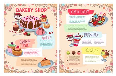 베이커리 숍 포스터 달콤한 디저트와 비스킷 케이크 세트. 벡터 디자인 서식 파일 밀크 쉐이크, 티라미수 또는 치즈 케이크 torte 및 도넛, 패스트리 초 일러스트