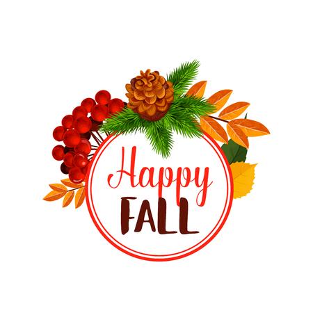 Herfst bes of gelukkige blad herfst vector poster