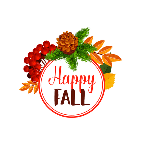 Autumn berry or happy leaf fall vector poster
