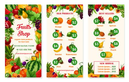 과일 가게 또는 시장의 벡터 메뉴 가격 템플릿