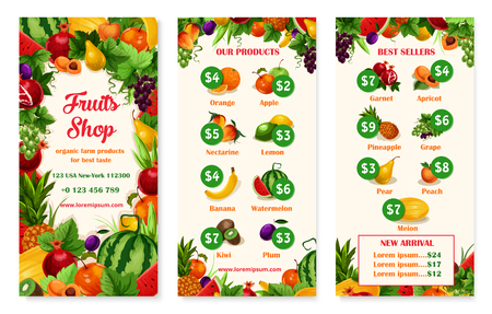Vector menu price template of fruit shop or market Ilustrace