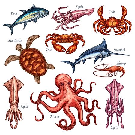 魚介類や魚料理の漁獲量のベクトルのアイコン