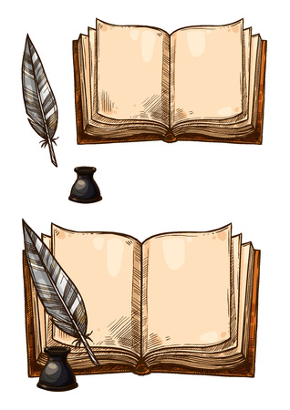 Vector old books and ink quill feather pens Иллюстрация
