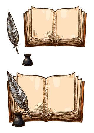 Vector oude boeken en inktveer veer pennen
