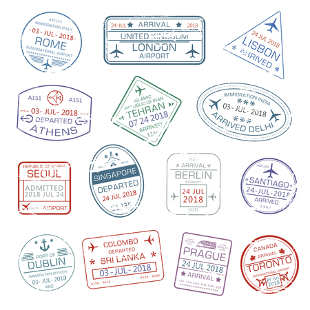 Iconos de vector de sellos de pasaporte de ciudad de viajes del mundo Foto de archivo - 83088199