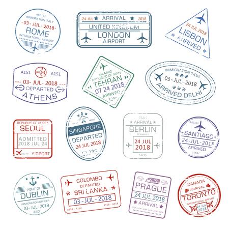 Vector iconen van wereld reizen stad paspoort stempels