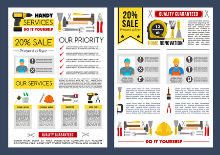 Vector poster template for home repair service Banco de Imagens - 83088198
