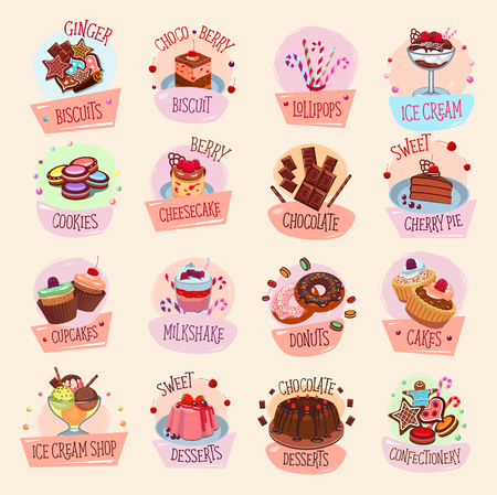Bakery shop cookies and pastry icons. Vector isolated set sweet tiramisu torte, cheesecake or pudding pie, ice cream dessert and chocolate biscuit cupcake or fruit roll for patisserie or confectionery Çizim