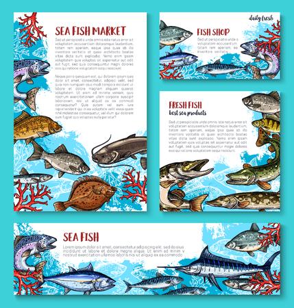Vector sjabloon voor verse vis zeevruchten markt Stock Illustratie