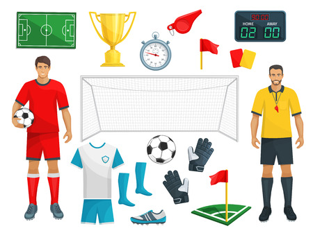 Football vector icons set of soccer sport game