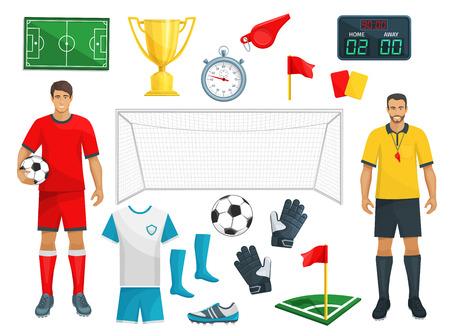 Reeks van voetbal de vectorpictogrammen van het spel van de voetbalsport