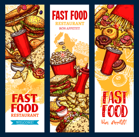 A Vector fast food banners for fast food restaurant illustration. Illustration