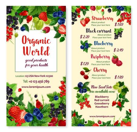 Vector prijskaart voor bessen en tuinvruchten