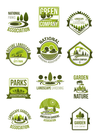 Vector icons of nature landscape and green company