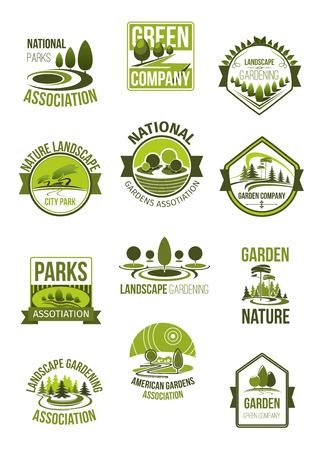 Vectorpictogrammen van aardlandschap en groen bedrijf Stock Illustratie