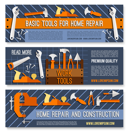 Vector banners for home or house repair work tools Illustration