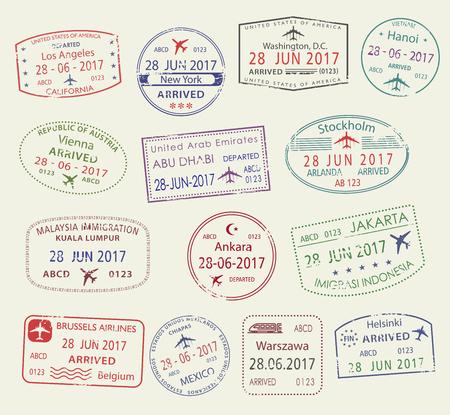 Los iconos del vector del pasaporte de la ciudad sellan el viaje del mundo Ilustración de vector