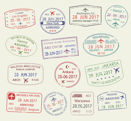 Vector icons of city passport stamps world travel Stock Illustratie