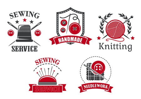 Vector icons of sewing knitting needlework service