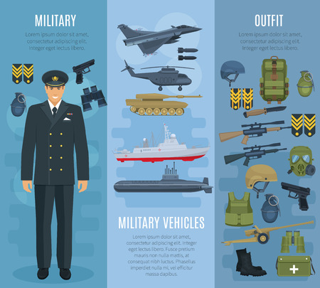 Vector banners military vehicles ammunition outfit