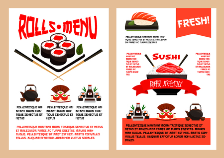 Japanese restaurant or sushi cuisine vector menu