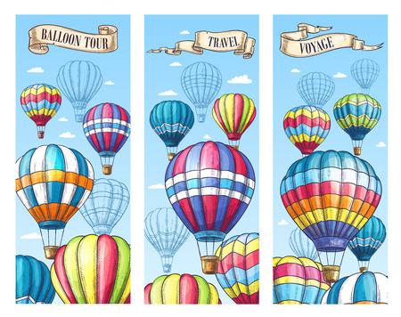 A Vector banners for hot air balloon travel tour illustration. Ilustração