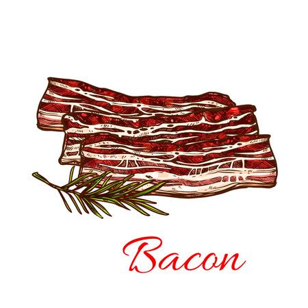 肉屋の図のための新鮮なベーコン肉のベクター アイコン。