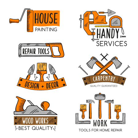 Vector icons template of home repair handy service Çizim
