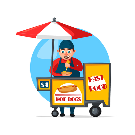 A Vector street fast food vendor booth cart illustration.