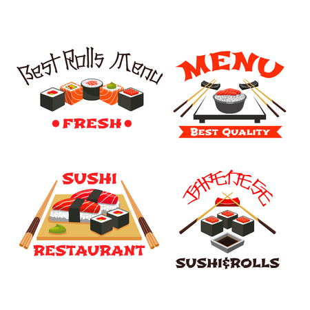 Vector icons set of Japanese restaurant sushi menu