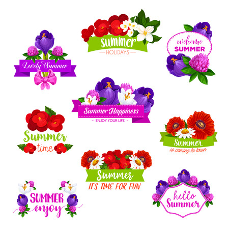 A Vector icons of summer flowers blooming bouquets illustration.