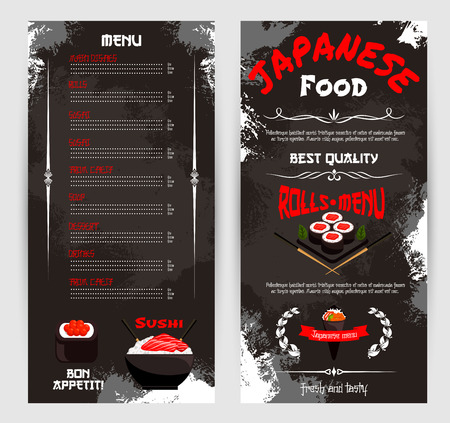 Vector price menu for Japanese sushi restaurant Illustration