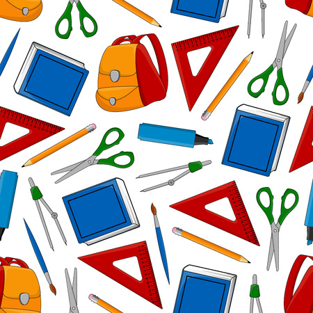 Back to School seamless pattern of education and study supplies and stationery. Vector illustration.
