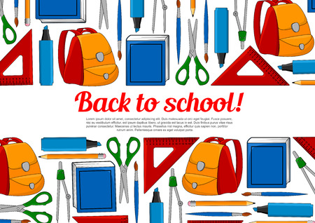 Back to School poster of study supplies and stationery for September school season. Vector illustration.