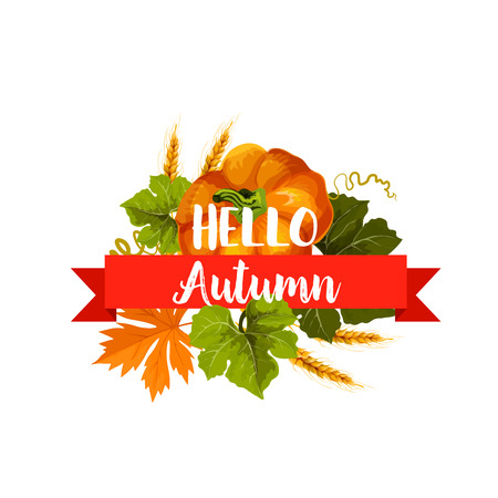 Hello Autumn icon with leaf and pumpkin vegetable Vectores