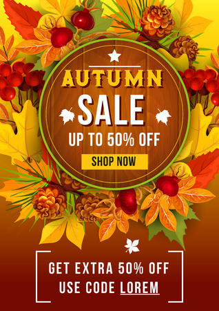 Autumn sale discount vector poster of leaf fall Ilustracja