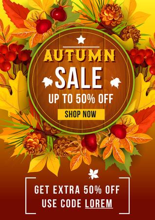 Herfst verkoop korting vector poster van blad herfst Stock Illustratie