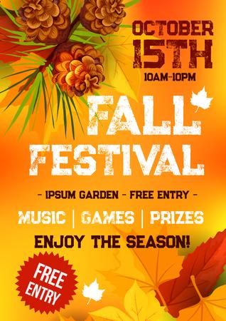 Herfst festival en herfst seizoen partij banner vallen. Gevallen bladeren, oranje en geel esdoorngebladerte, de tak van de pijnboomboom met pinecone en tekstlay-out voor affiche of het malplaatjeontwerp van de uitnodigingsvlieger Stockfoto - 83687722