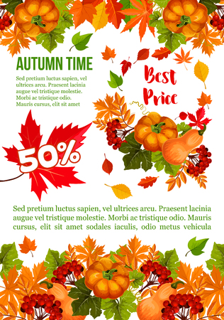 Autumn sale banner template for Thanksgiving Day special offer. Autumn harvest pumpkin vegetable, fall season leaf, maple tree foliage, rowanberry fruit branch for retail promotion poster design Illustration