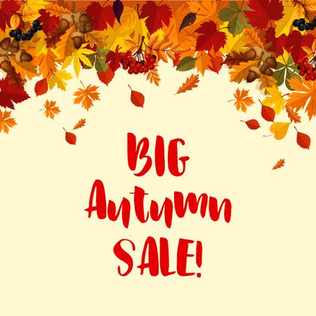 Herfst grote verkoop poster sjabloon van vallende bladeren, eiken eikels en rowan bessen. Vector de herfstgebladerte van esdoornblad, berk of esp en populier voor seizoengebonden het winkelen het ontwerp van de kortingsaanbieding