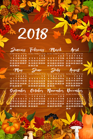 Autumn 2018 calendar template poster of maple leaf fall, rowan berry or oak acorn and pumpkin or mushroom forest harvest. Autumn seasonal foliage, fir or pine cone and chestnut leaves vector design