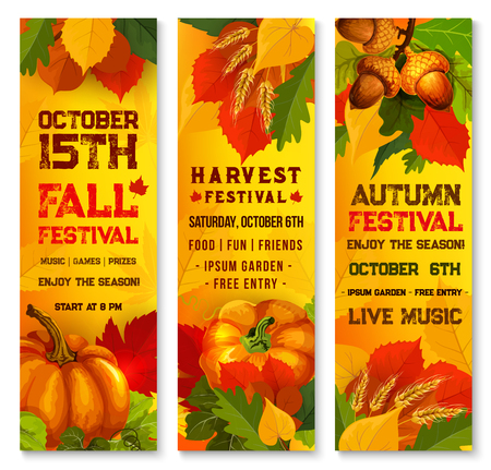 Autumn harvest festival banner set with orange pumpkin and leaves. Fall season fest poster of yellow leaf, pumpkin vegetable, acorn branch, ripe wheat, maple foliage for Thanksgiving holiday design