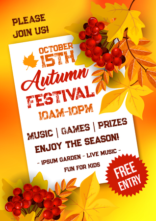 Autumn festival poster template with yellow fallen leaves. Rowanberry fruit branch, maple and chestnut tree foliage for fall season harvest celebration banner or invitation design