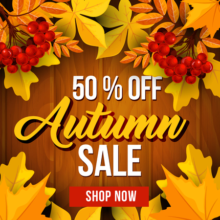 Autumn sale poster template with yellow leaves on wooden background. Fall season discount price banner with frame of maple foliage, orange chestnut leaf and rowanberry fruit branch for retail design