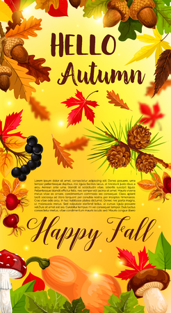 Hello Autumn or Fall banner of September forest nature sun light and falling leaves of oak, maple or aspen and elm tree, rowan berry and acorn harvest. Vector template for autumn design