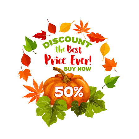 秋のセール 50% 割引カボチャのポスターとメープル、樫のドングリやアスペンやポプラ エルム落ち葉季節ショッピング秋の収穫 9 月木の紅葉