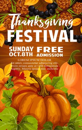 Thanksgiving Day and autumn festival poster design Illusztráció