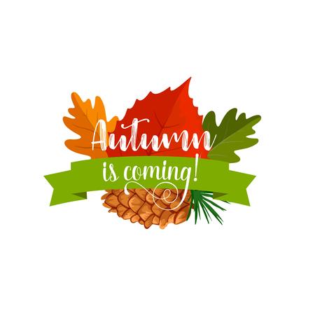 秋の森の自然の秋の葉のバッジ