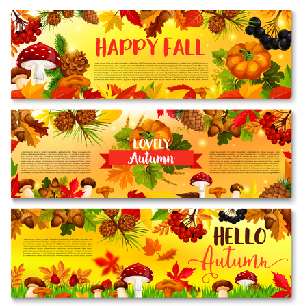 Autumn falling leaf September season vector banner