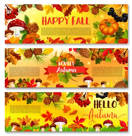 Herfst vallende blad September seizoen vector banner Stock Illustratie